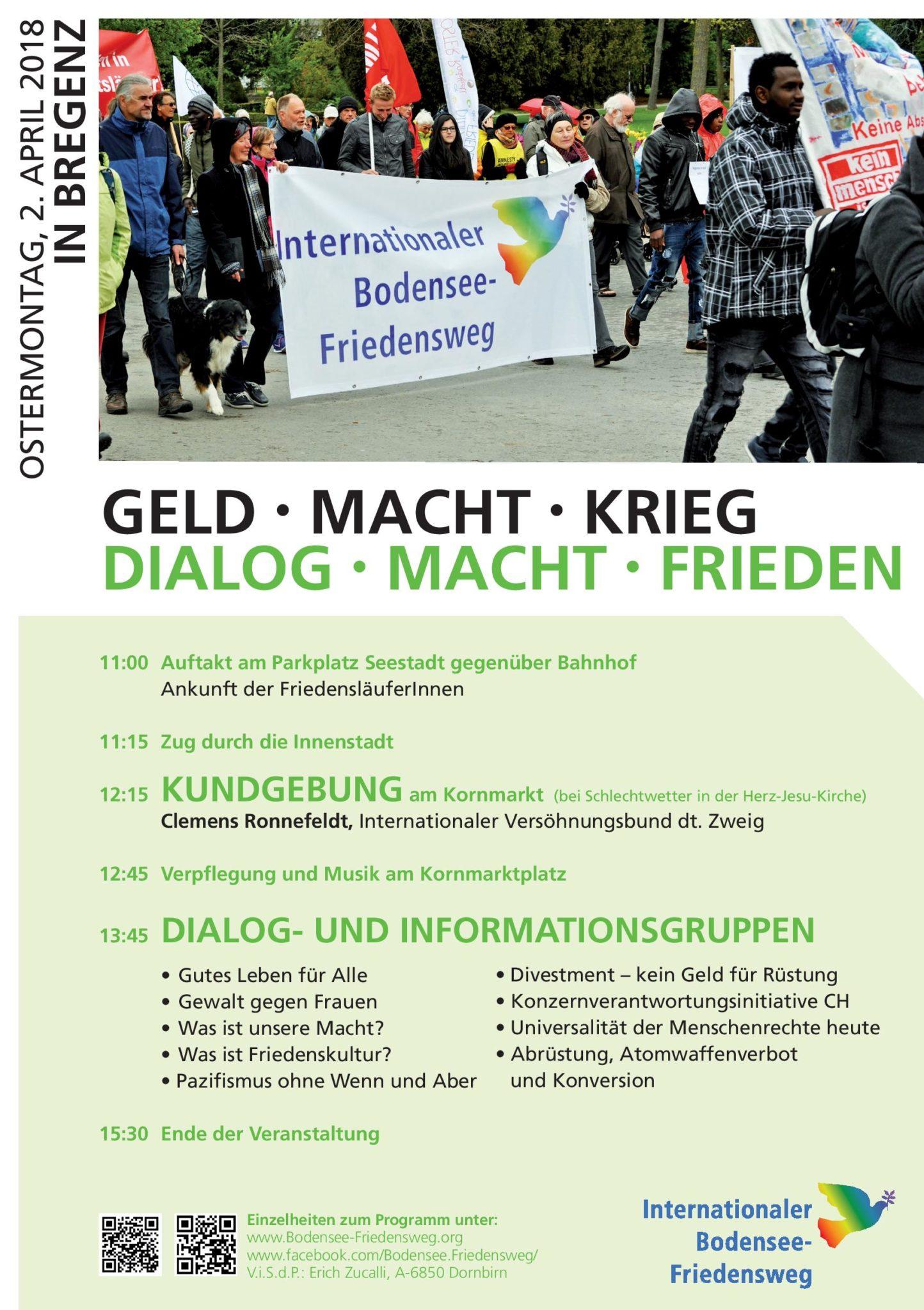 Bodensee Friedensweg: GELD MACHT KRIEG DIALOG MACHT FRIEDEN