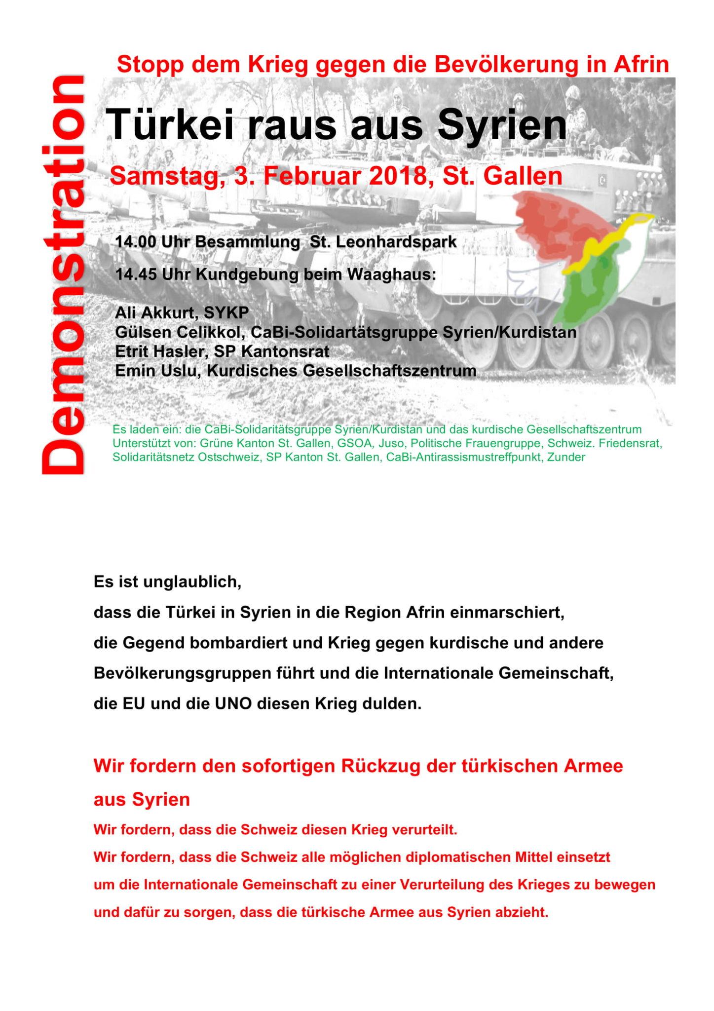 Demonstration: Türkei raus aus Syrien!