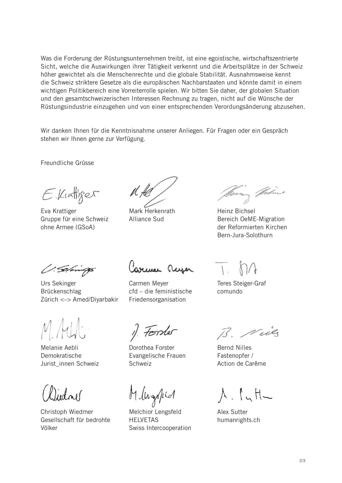 Brief Gegen Den Waffenexport In Bürgerkriegsländer Friedensrat