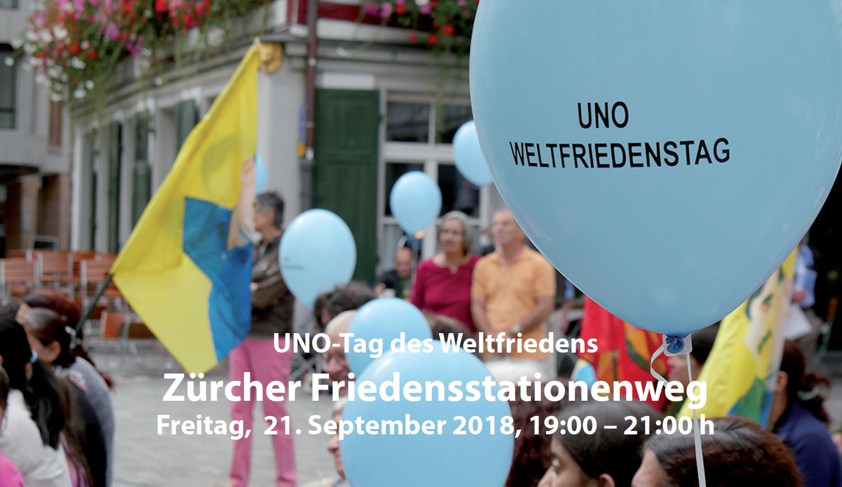 Der UNO Weltfriedenstag in Zürich am Freitag, 21. September 2018