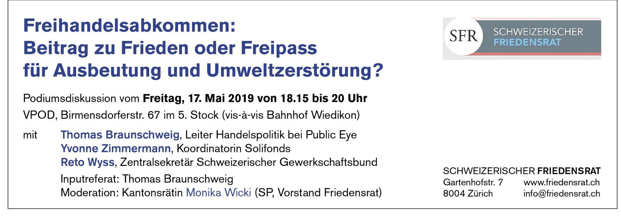 Jahresversammlung des Schweizerischen Friedensrates am Freitag, 17. Mai 2019 in Zürich