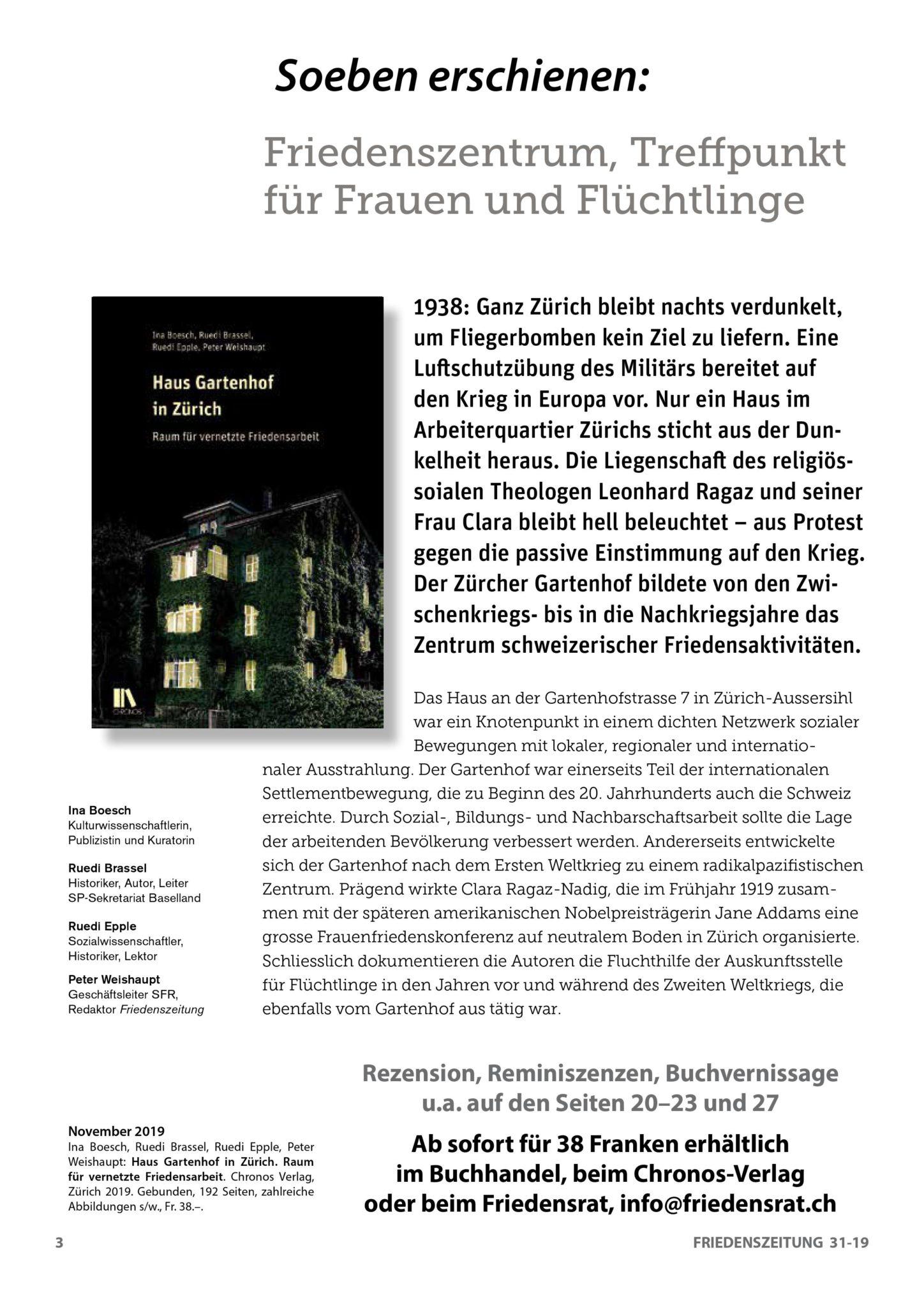 """Das Buch """"Haus Gartenhof in Zürich"""""""