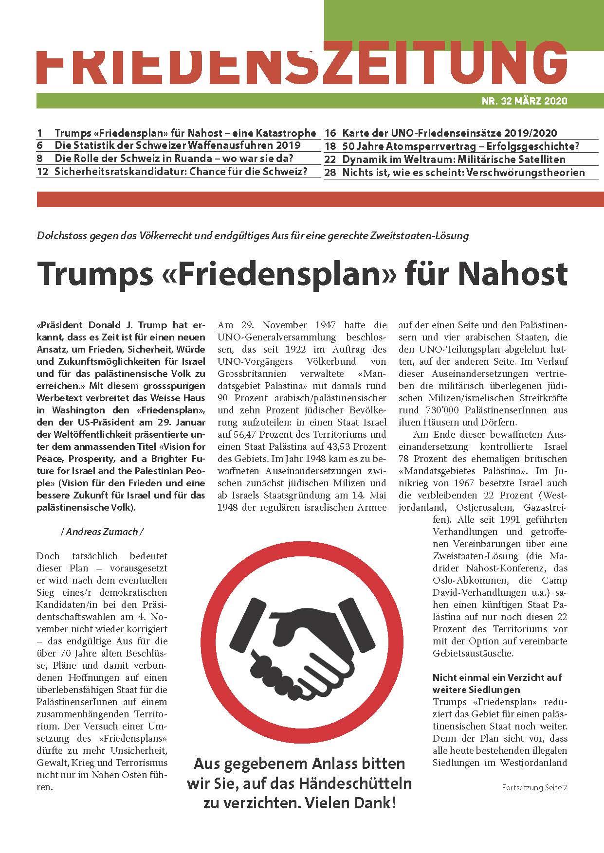 Die März-Ausgabe der Friedenszeitung ist soeben erschienen