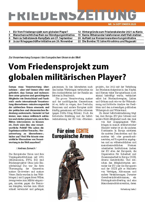Die September-Ausgabe der Friedenszeitung ist soeben erschienen!