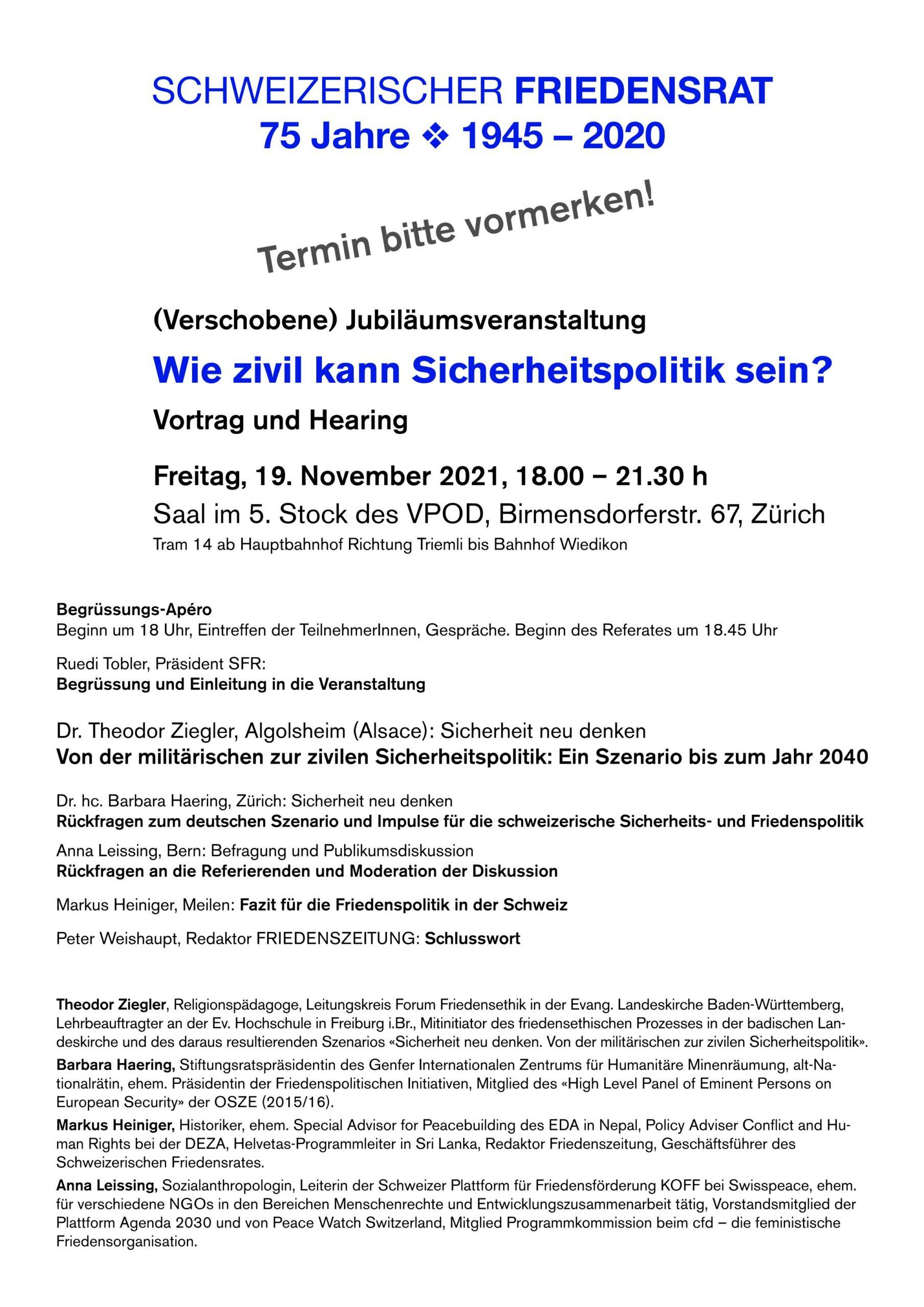(Verschobene) Jubiläumsveranstaltung: Wie zivil kann Sicherheitspolitik sein? 19. November um 18 Uhr